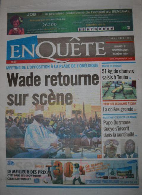 Les Principaux Titres De La Presse du vendredi 21 Novembre 2014