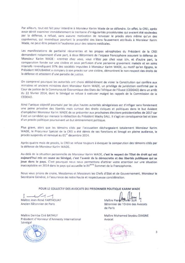 Document-Karim Wade écrit au Sg de la francophonie et aux 77 chefs d'Etat qui seront présents ou représentés à Dakar