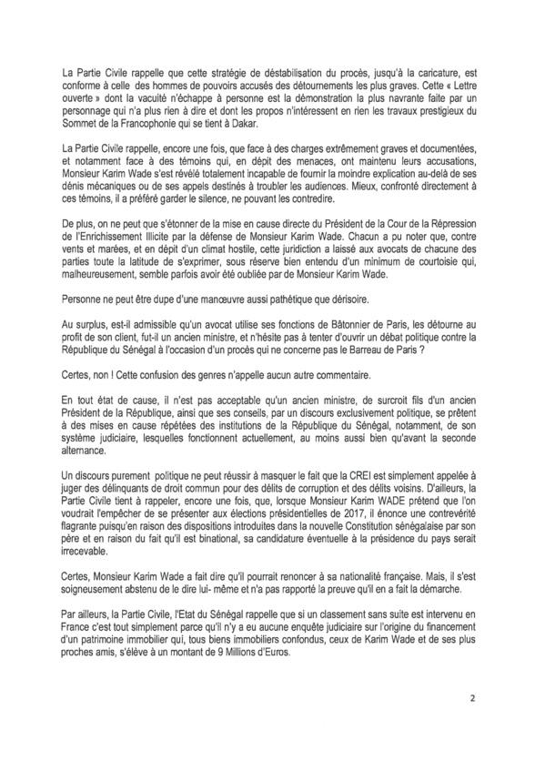 La partie civile répond aux avocats de Karim : Me Bourdon et Cie saisissent Diouf et démontent les accusations de Wade-fils (Document)