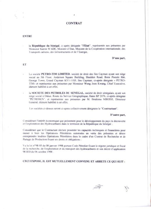 Exclusif! Voici le contrat de recherche et de partage d'hydrocarbures conclu entre l'Etat du Sénégal et Petro-Tim