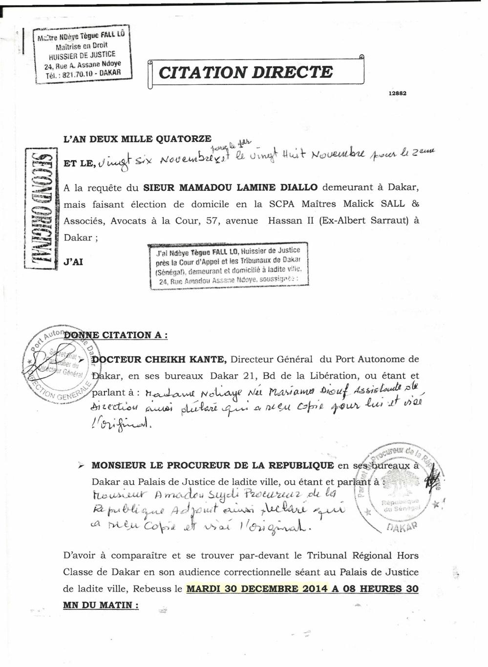 Injure publique : Le député Mamadou Lamine Diallo traîne Dr Cheikh Kanté devant le juge (document)