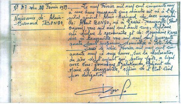 Pour démentir Pierre Péan: Ali Bongo brandit son acte de naissance