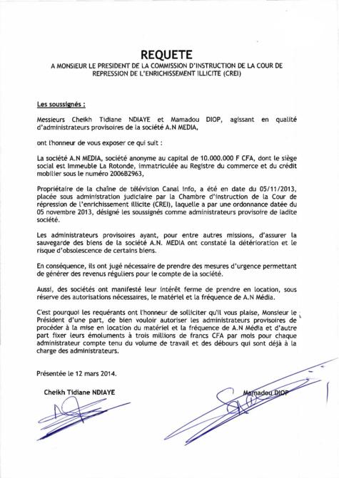 La lettre de Cheikh Tidiane Ndiaye et Me Mamadou Diop adressée à la CI de la CREI