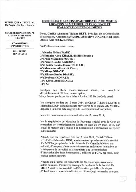 Documents - Affaire Karim Wade: Nommés administrateurs provisoires de AN Média, Cheikh Tidiane Ndiaye et Mamadou Diop réclamaient chacun 3 millions de salaire par mois