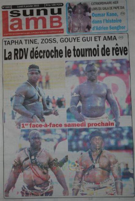A la Une du Journal Le Soleil du lundi 05 janvier 2015