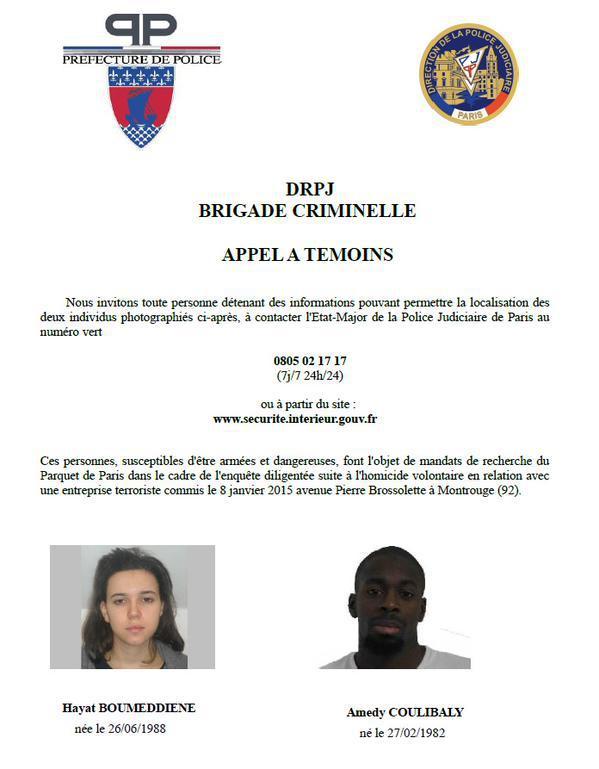 """Attaque contre """"Charlie Hebdo"""", prise d'otages à Vincennes: Hayat Boumeddiene, femme la plus recherchée de France"""