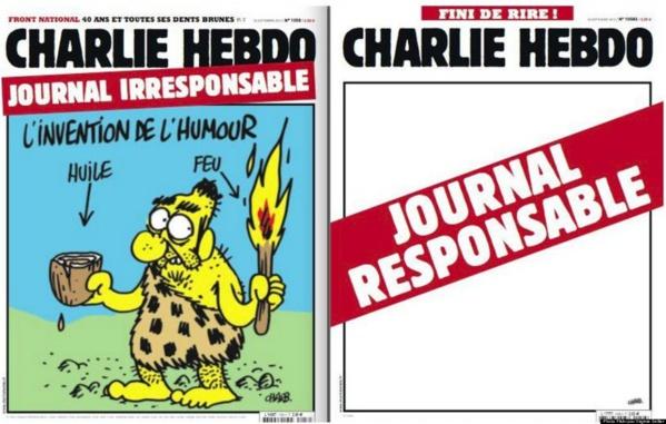 """Charlie Hebdo, Menu du 14 janvier : """"Tout est Pardonné"""" sur une assiette de """"Provocation""""."""