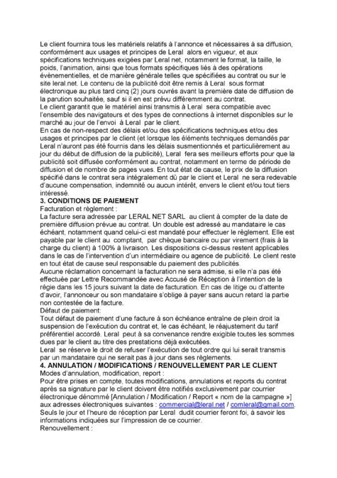 Télécharger la grille tarifaire de  www.leral.net 2015