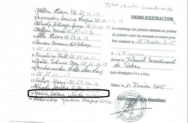 """Voici l'ordre d'extraction de Karim Wade """"déchiré"""" par le Palais"""