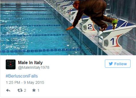 La grosse chute de Berlusconi amuse