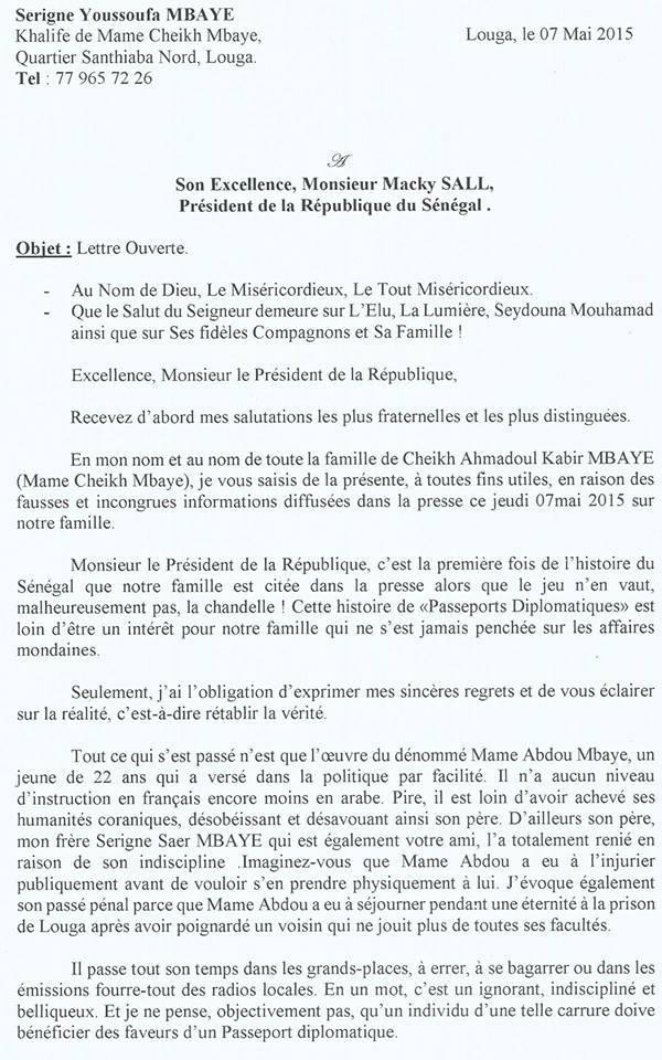 Document - Lettre ouverte du Khalife de Mame Cheikh Mbaye sur l'affaire des passeports diplomatiques