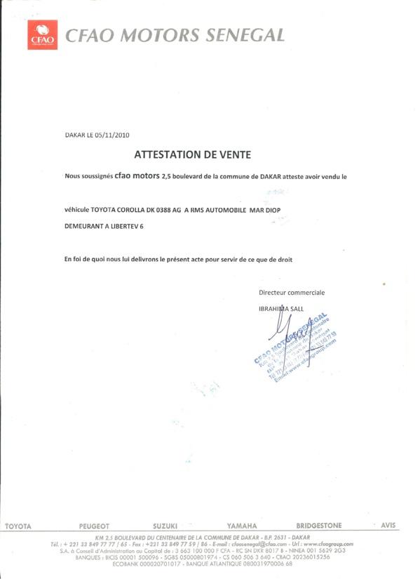 Détournement de véhicules d'une valeur de 300 millions à CFAO Motors Sénégal : Voici les attestations de vente délivrées à Rms Automobile