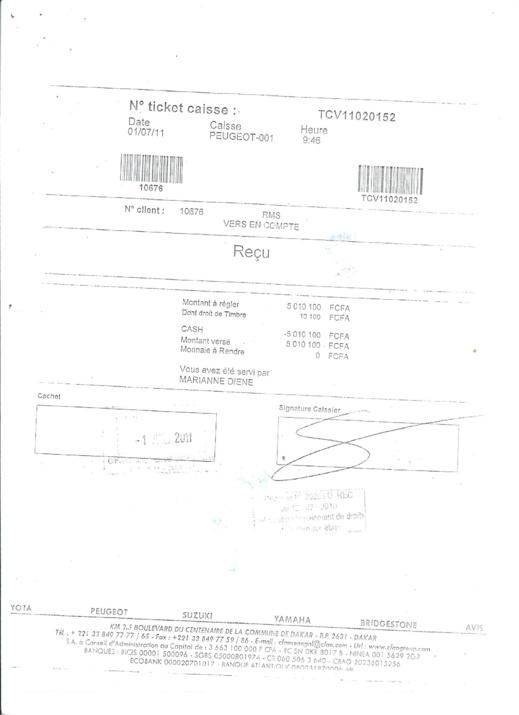 Reçu de caisse de la CFAO à Rms Automobiles