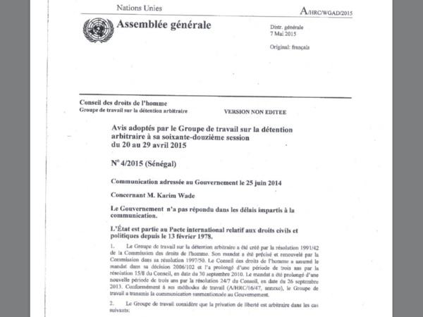 Les Nations Unies réclament la libération immédiate de Karim Wade : Ce que risquent les autorités sénégalaises si...