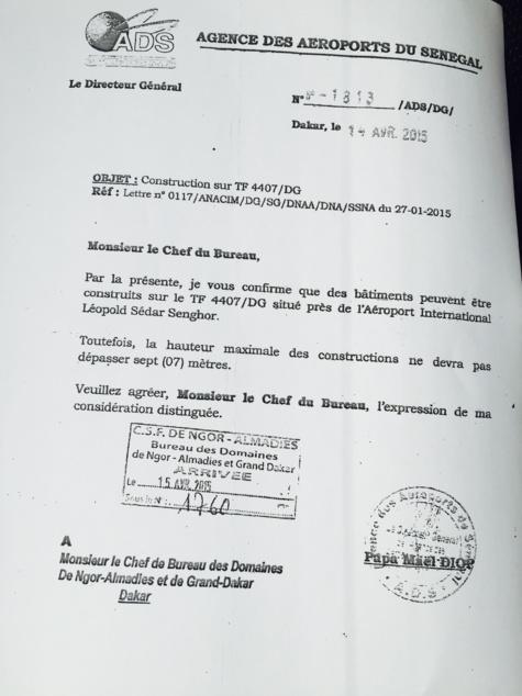Autorisation de construire autour de l'aéroport : Pape Maël décolle à 7 mètres ( Document )