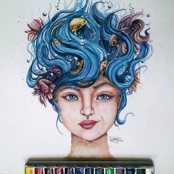 A seulement 17 ans, il réalise de magnifiques peintures à l'eau... Un véritable don !