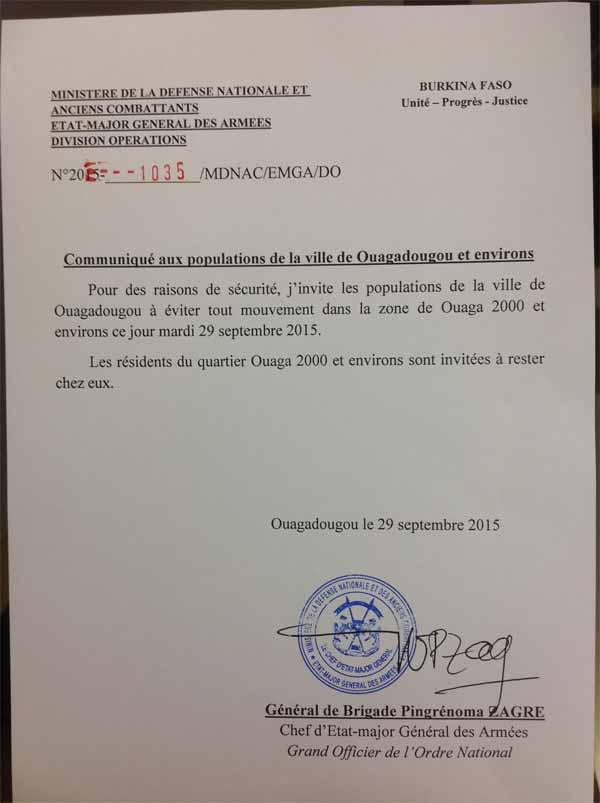 Alerte au Burkina Faso : Le Cemga, Pingrénoma Zagré, invite les populations à éviter tout mouvement dans la zone de Ouaga 2000