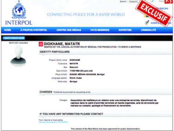 Terrorisme : Interpol émet une notice rouge contre Makhtar Diokhané