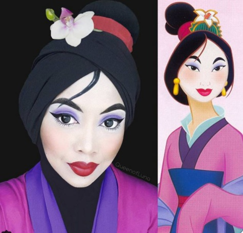 Elle se déguise en personnages de Disney en utilisant son Hijab ! Le résultat est sublime !