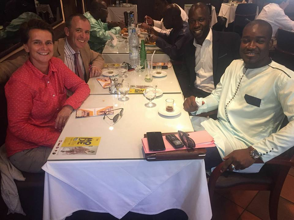 Le couple Alméras et Abdoulaye Ba ( Entrepreneur)
