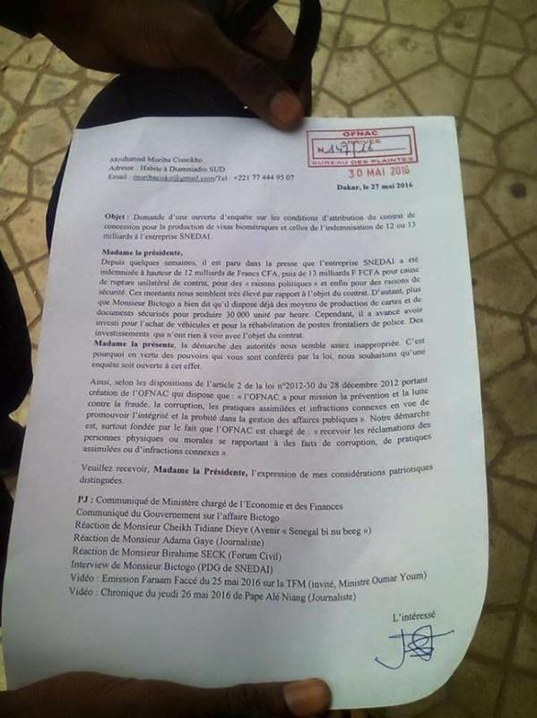 Affaire Bictogo : Un citoyen saisit l'Ofnac «au nom de tous les Sénégalais»