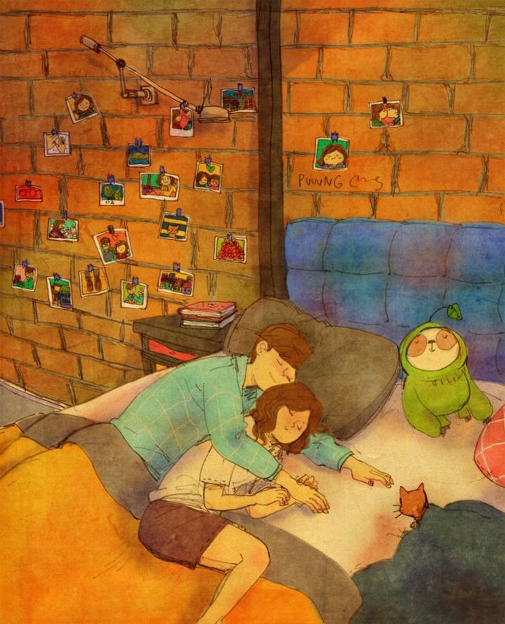 Un artiste illustre avec talent et tendresse le quotidien des amoureux... Adorable !