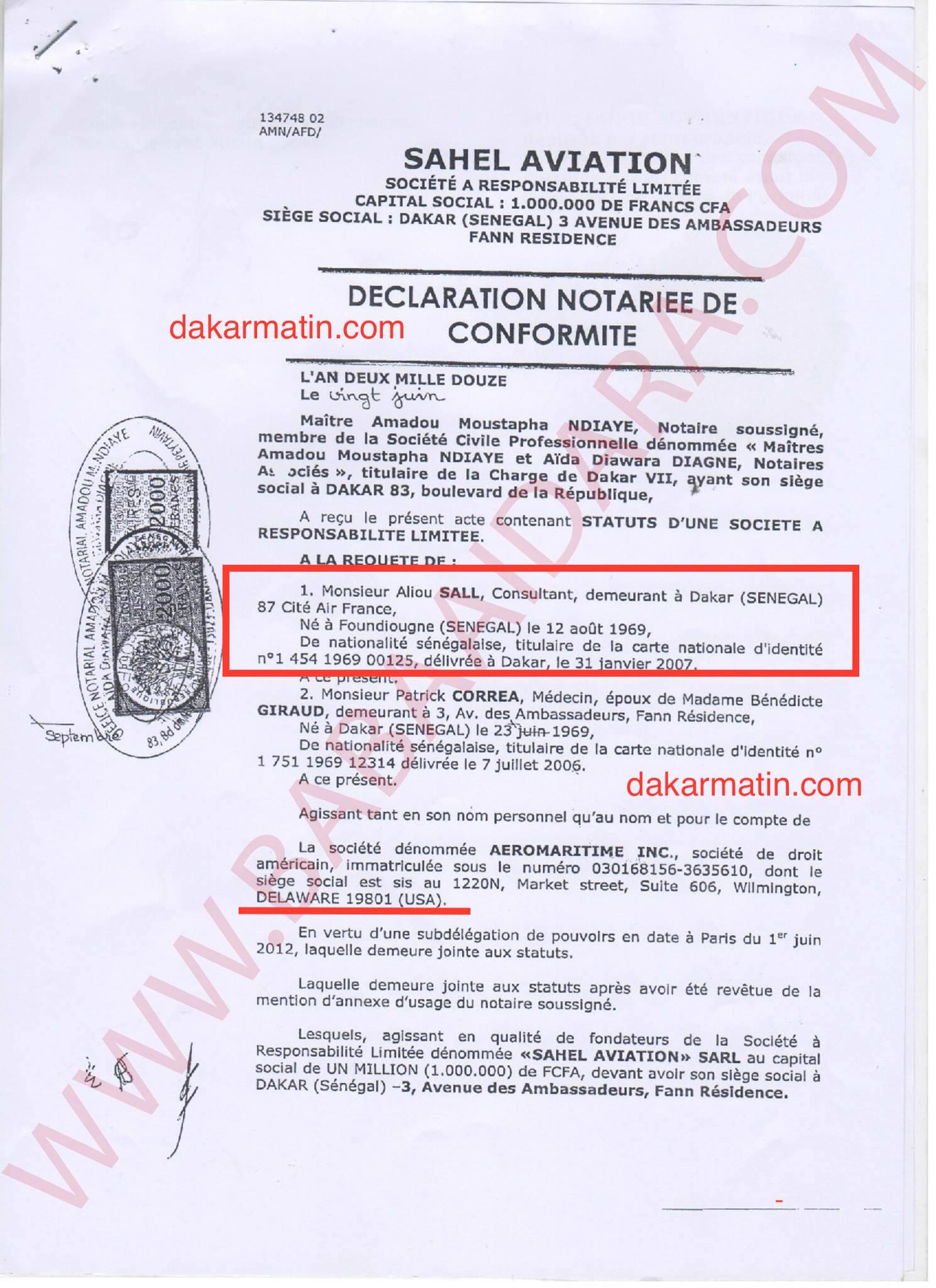Création d'une entreprise d'aviation par Aliou Sall : Les preuves accablantes (Document)