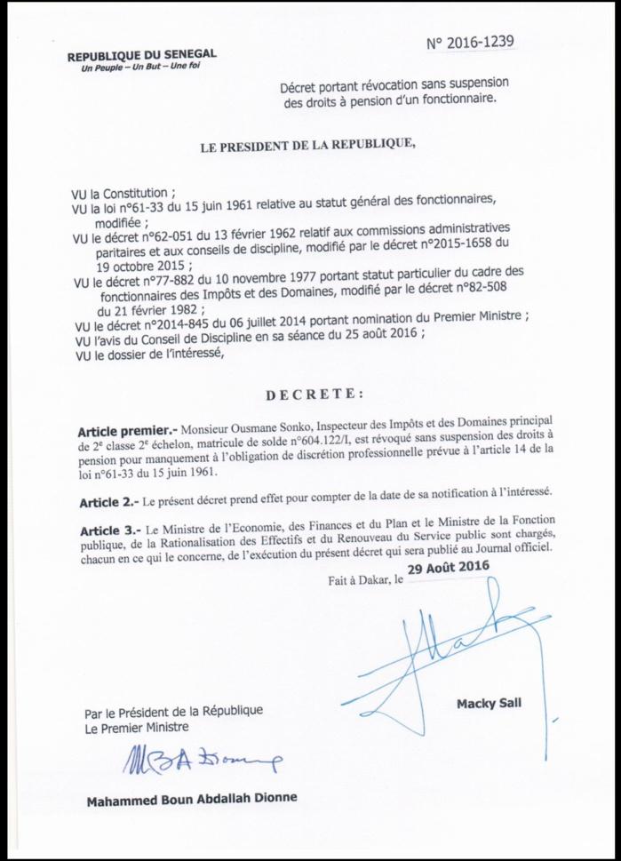 Ousmane Sonko révoqué sans suspension des droits à une pension