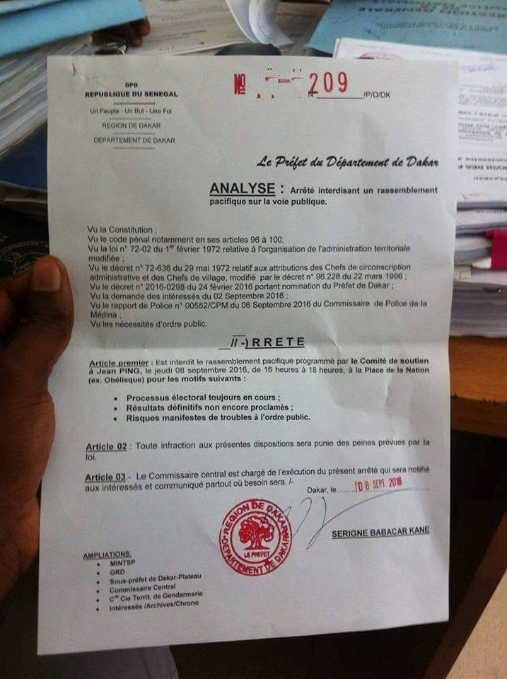 Rassemblement à la Place de l'Obélisque: Le Préfet de Dakar envoie valser les partisans de Jean Ping qui voulaient marcher cet après-midi