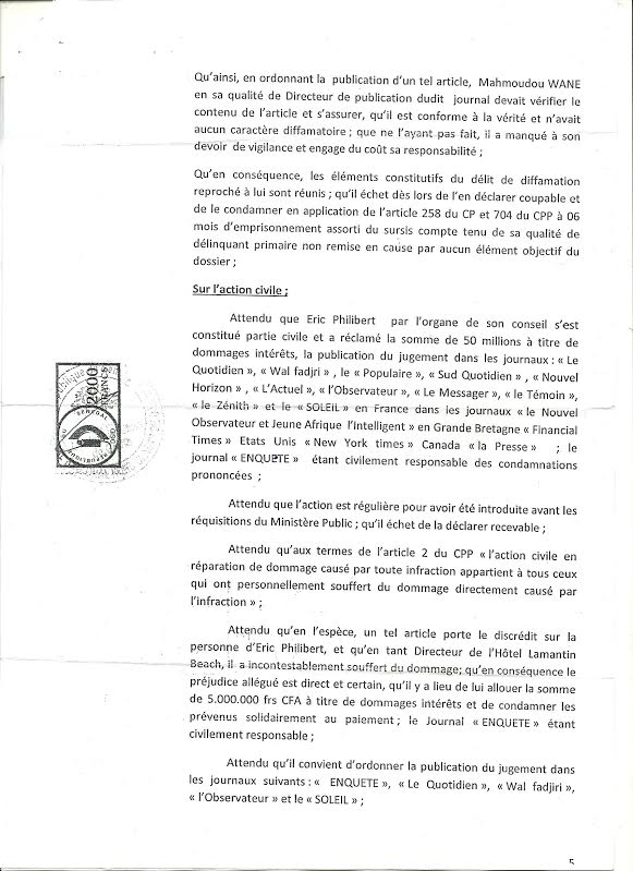 Justice : En premier ressort, Éric Philibert gagne son procès en diffamation contre le journal « Enquête », des sites internet recevront des sommations interpellatives, lundi