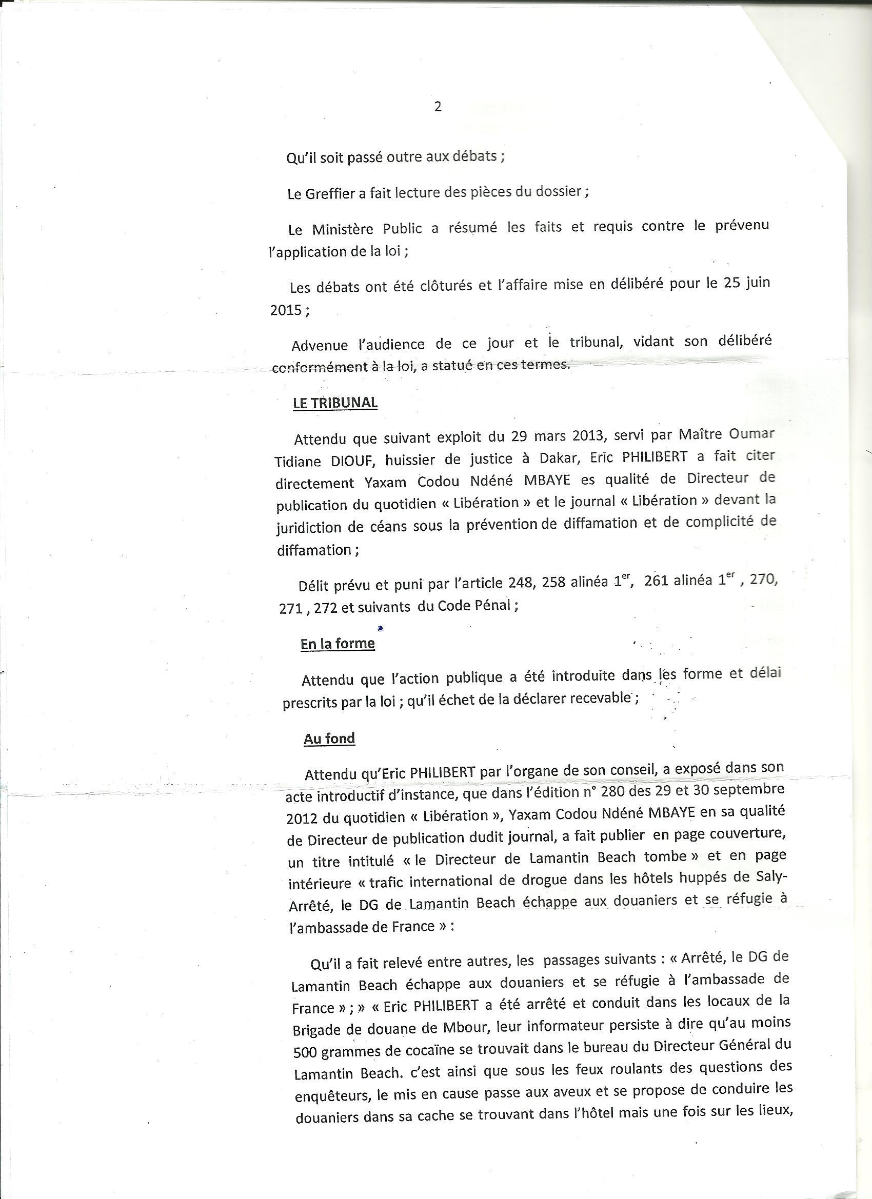 Diffamation : Éric Philibert rétablit son honneur… Yaxam Mbaye condamné