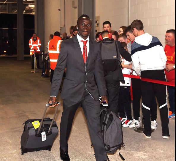 Photo : Arrivée de Sadio Mané au Stade Anfield pour le match entre Liverpool contre Leicester City