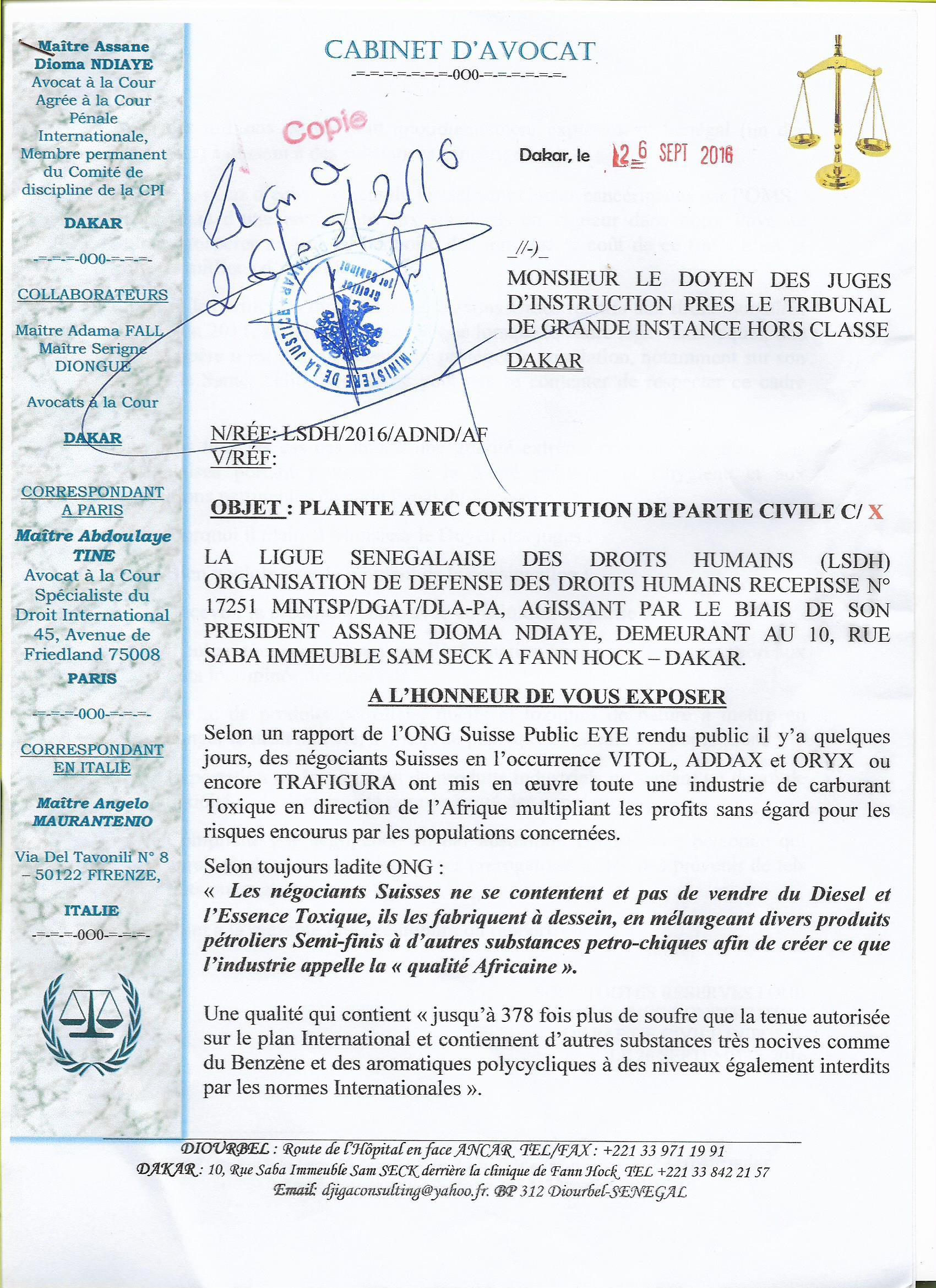 Rapport ONG Suisse Public EYE : la LSDH PORTE plainte avec constitution de partie civile