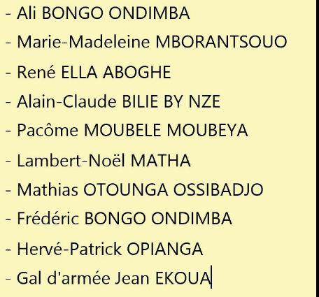 Liste des personnes ''accusées'' par Jean Ping