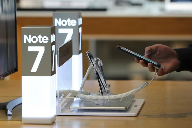 Présentation du Galaxy Note 7 dans une boutique Samsung, à Séoul, en octobre 2016.