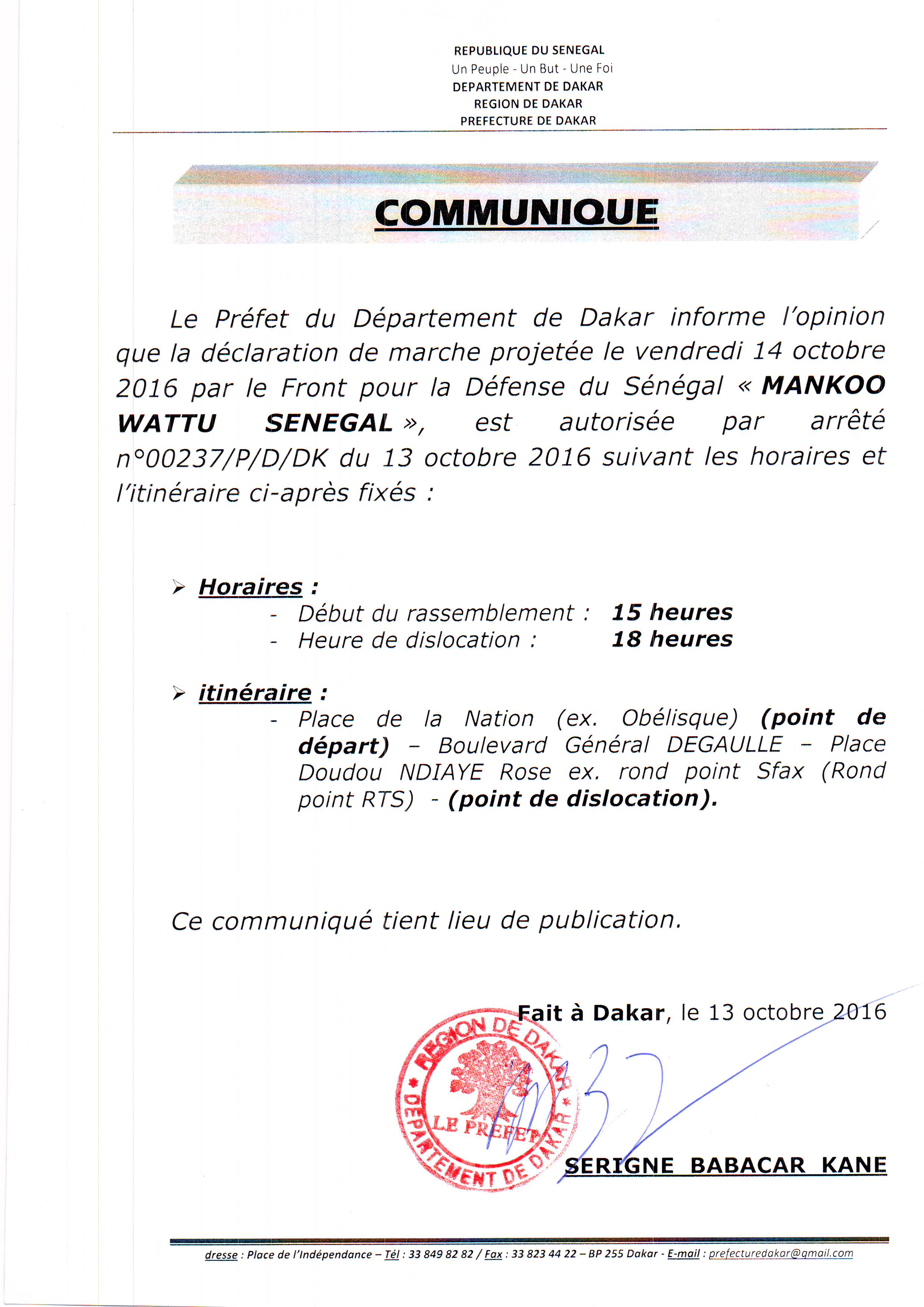 Le Préfet du Département de Dakar autorise la marche de Manko Wattu Senegaal