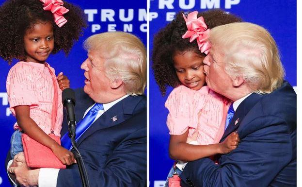 Arrêt sur image : Donald Trump fait un bisou à une petite fille noire