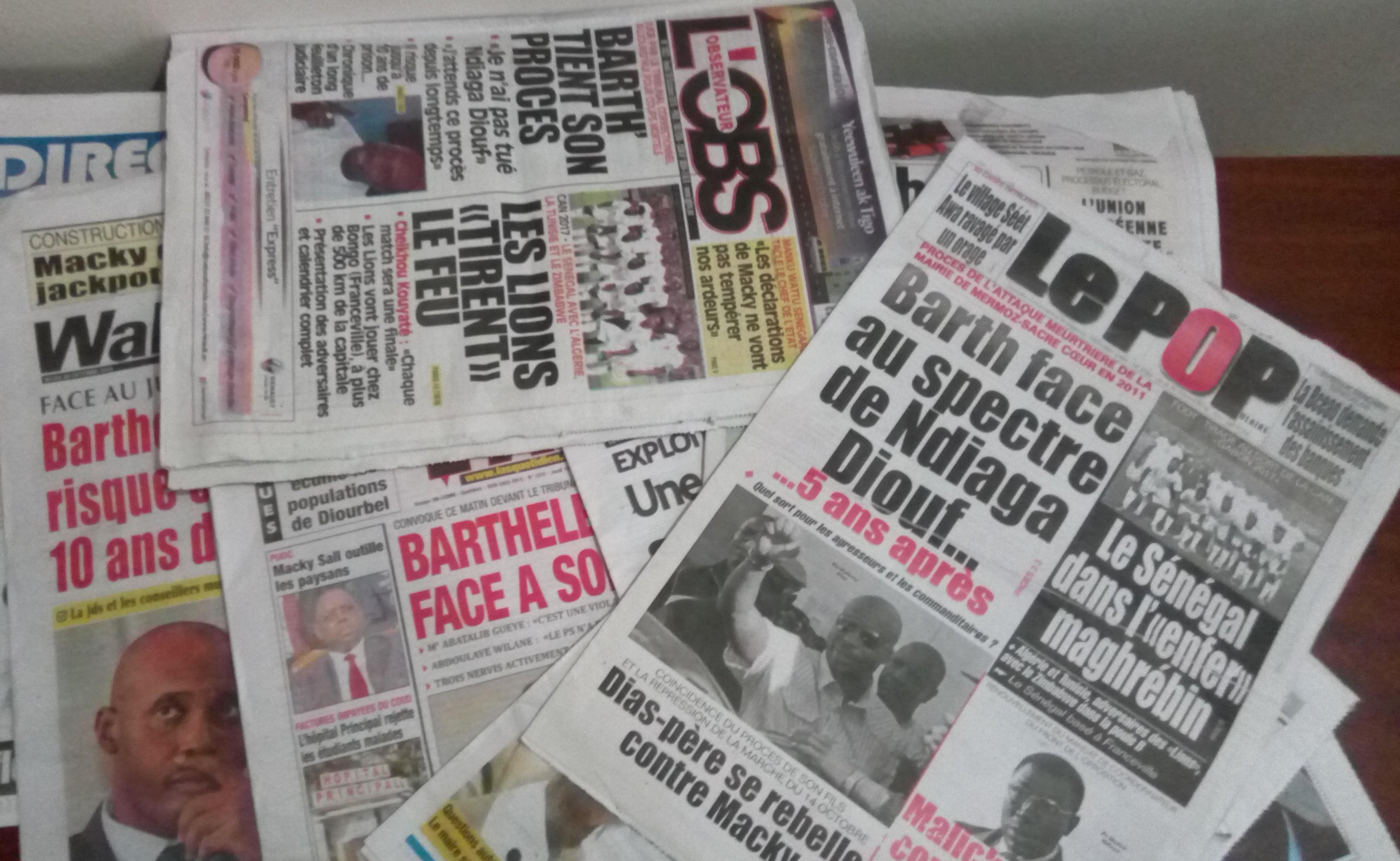 La Une des journaux du 20 octobre 2016: Le procès Barthélémy Dias en vedette