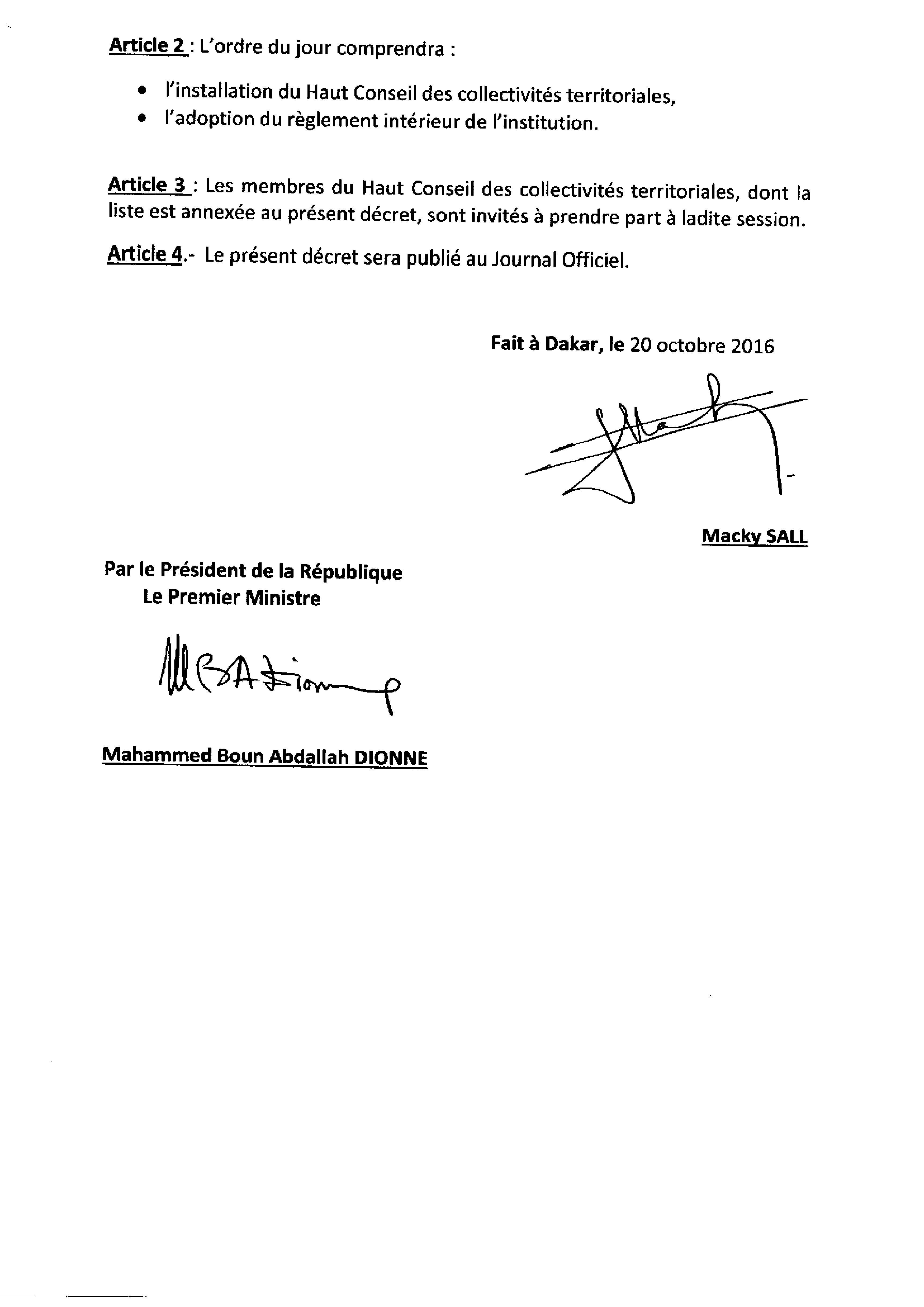 EXCLUSIF: les décrets du Haut Conseil des Collectivités territoriales (HCCT)