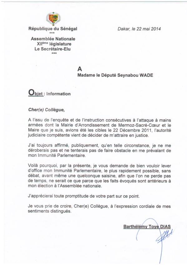 CHEIKH SECK, député, coordonnateur du sous-groupe du PS à l'Assemblée nationale déclarait : «Barthélémy Dias n'a déposé aucune demande pour la levée de son immunité parlementaire…»