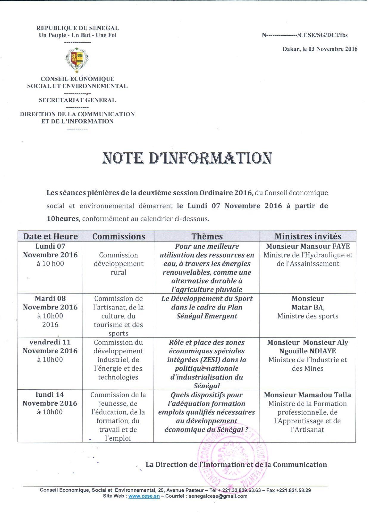 Le programme des séances plénières du Le Conseil Economique, Social et Environnemental.