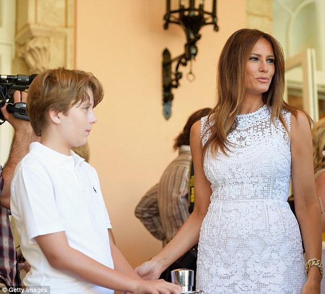 Melania Trump et son fils Baron Trump.