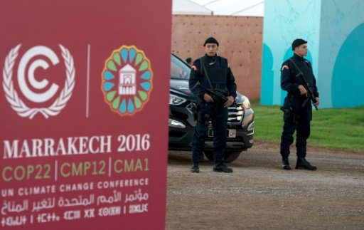 © AFP/Archives | Des forces de sécurité sur le site de la COP22, le 9 novembre 2016 à Marrakech.