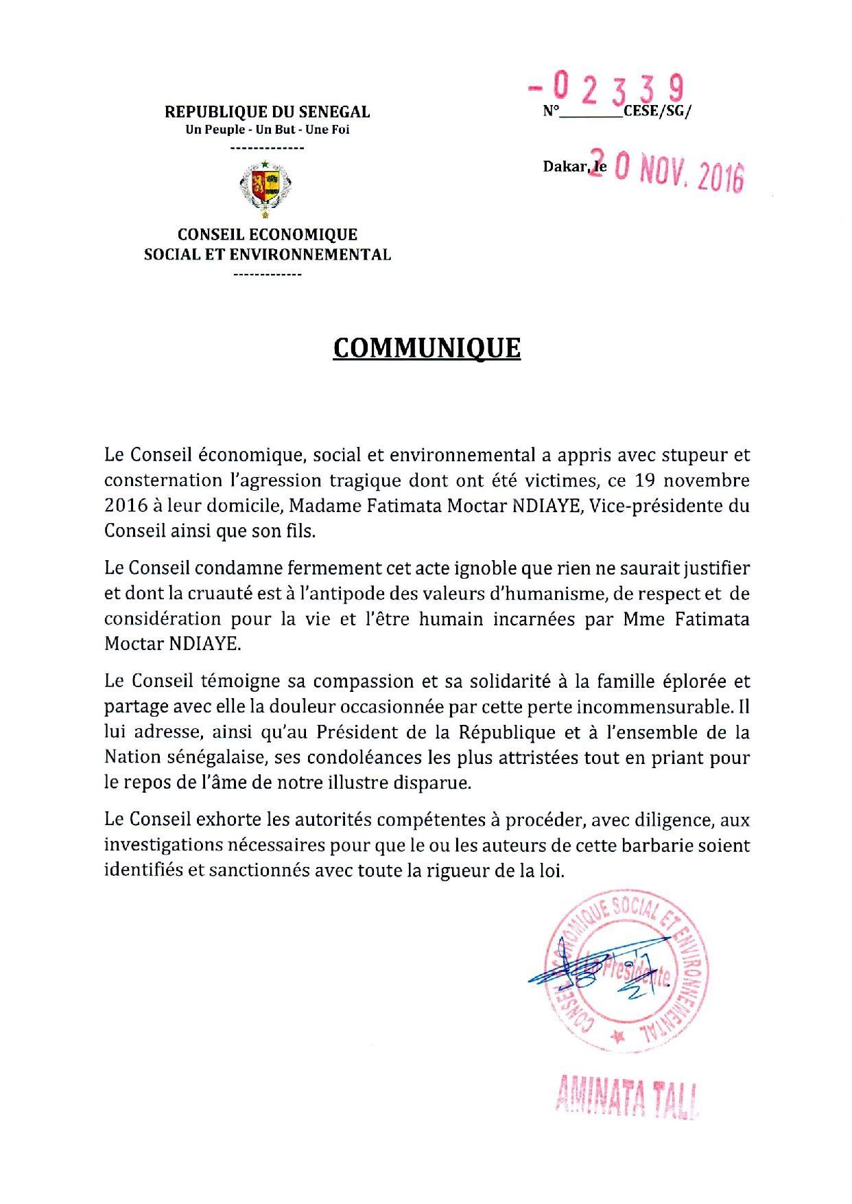 Le communiqué officiel du Conseil Economique, Social et Environnemental.
