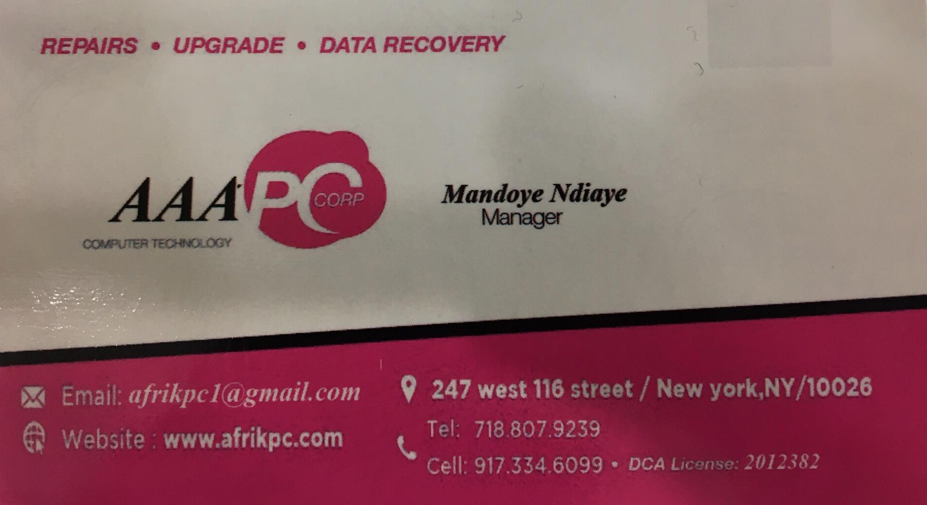 Mandoye Ndiaye, Manager Afrik-PC computer technology New York