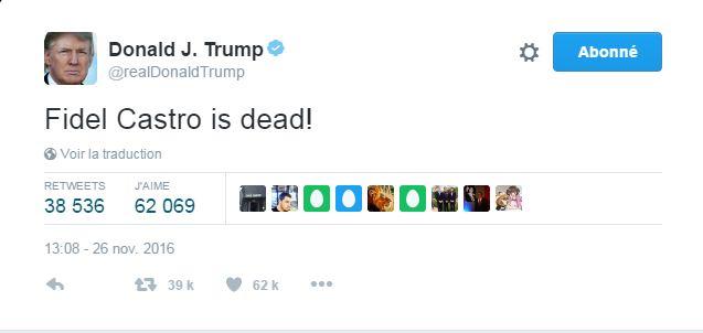 Donald Trump réagit au décès de Fidel Castro par un tweet laconique