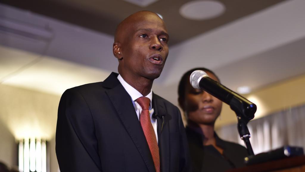 Jovenel Moïse, lors de son discours suivant la proclamation des résultats de la présidentielle haïtienne. HECTOR RETAMAL / AFP.