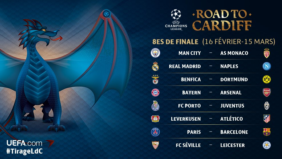 Rencontre quart de final ligue des champions 2017