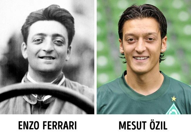 """Insolite : Mesut Özil, le footballeur a le même visage que Enzo Ferrari, fondateur de la société """"Ferrari"""""""