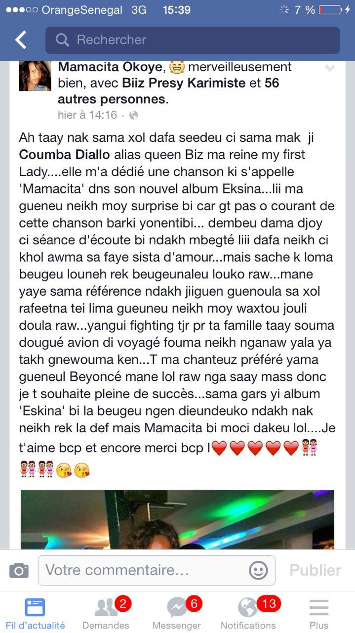 Le témoignage émouvant de la sœur de Queen Biz sur Facebook : Mamassita est sa soeur et porte le nom d'un de ses sons sortis dans son nouvel opus Eksina